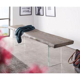 Massivholzbank Live-Edge Akazie Platin 195x40 cm Glasbeine massiv Baumkante Bank - Bild 1