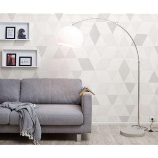 Stehlampe Big-Deal Eco Silber Betonfuß Schirm Weiss höhenverstellbar Bogenleuchte - Bild 1