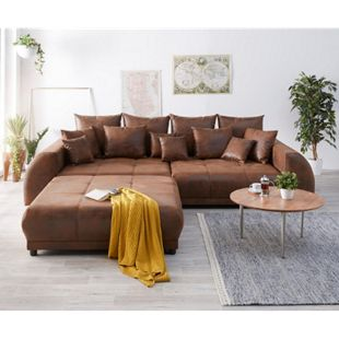 Bigsofa Violetta Braun 310 x 135 cm Antik Optik inklusive Hocker Kissen Big-Sofa - Bild 1
