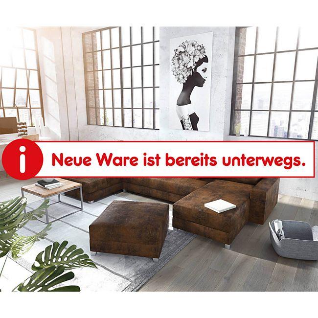 Couch Panama Braun Ottomane links Longchair rechts Hocker Wohnlandschaft modular - Bild 1