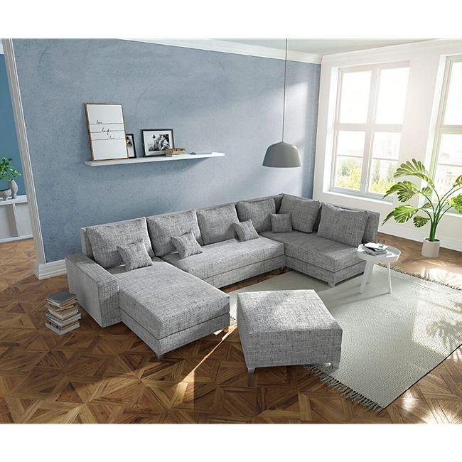 Couch Panama Hellgrau Ottomane rechts Longchair links mit Hocker Wohnlandschaft - Bild 1