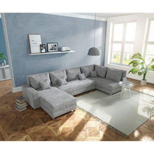 Couch Panama Hellgrau Ottomane rechts Longchair links Wohnlandschaft modular - Bild 1