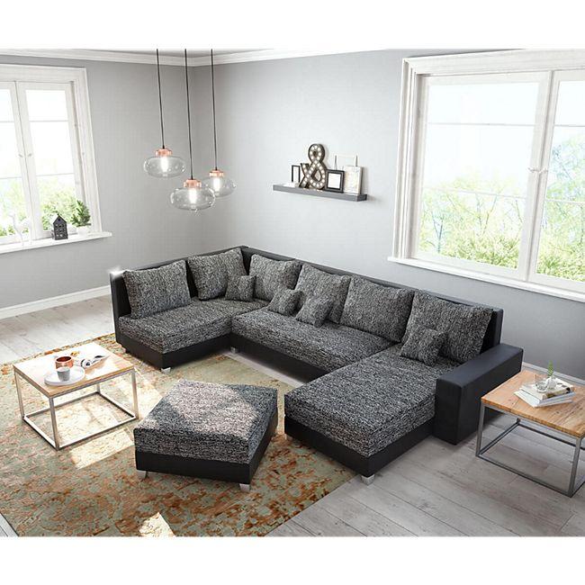 Couch Panama Schwarz Ottomane links Longchair rechts mit Hocker Wohnlandschaft modular - Bild 1