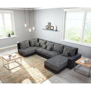 Couch Panama Schwarz Ottomane links Longchair rechts Wohnlandschaft modular - Bild 1