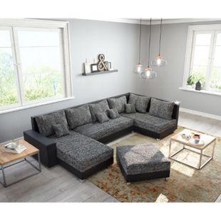 Couch Panama Schwarz Ottomane rechts Longchair links mit Hocker Wohnlandschaft modular - Bild 1