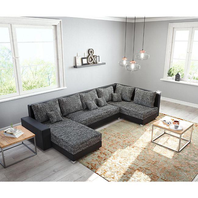 Couch Panama Schwarz Ottomane rechts Longchair links Wohnlandschaft modular - Bild 1