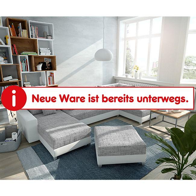 Couch Panama Hellgrau Weiss Ottomane rechts Longchair links Hocker Wohnlandschaft - Bild 1
