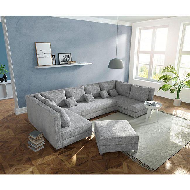 Couch Panama Hellgrau mit Hocker Wohnlandschaft modular - Bild 1