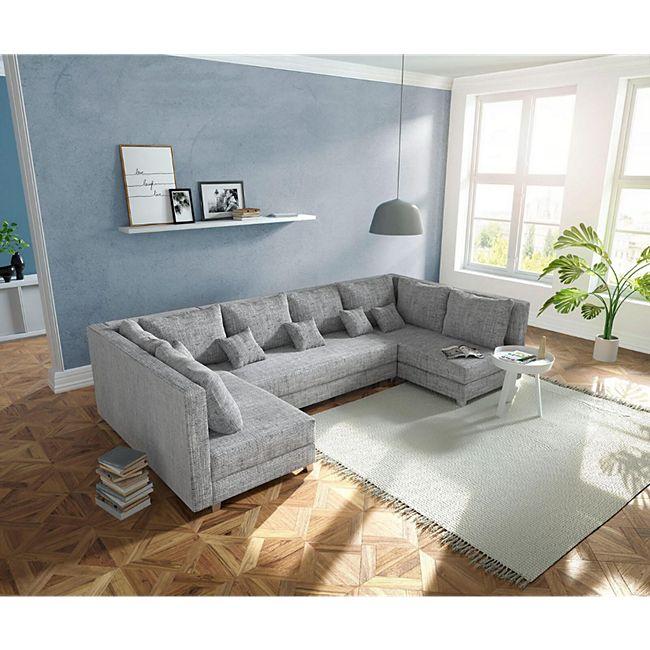 Couch Panama Hellgrau Wohnlandschaft modular - Bild 1