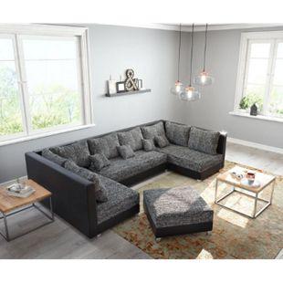 Couch Panama Schwarz mit Hocker Wohnlandschaft modular - Bild 1