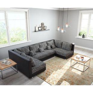 Couch Panama Schwarz Wohnlandschaft modular - Bild 1