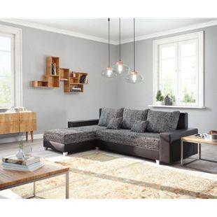 Couch Panama Schwarz Longchair variabel Ecksofa modular - Bild 1