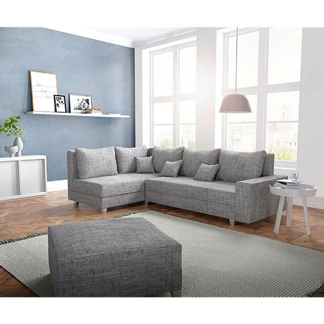 Couch Panama Hellgrau Ottomane Links Mit Hocker Ecksofa Modular