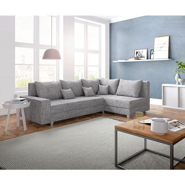 Couch Panama Hellgrau Ottomane rechts Ecksofa modular - Bild 1