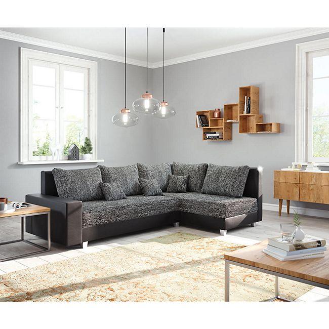 Couch Panama Schwarz Ottomane rechts Ecksofa modular - Bild 1