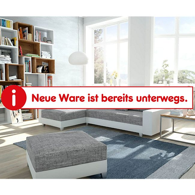 Couch Panama Hellgrau Weiss Ottomane links mit Hocker Ecksofa modular - Bild 1