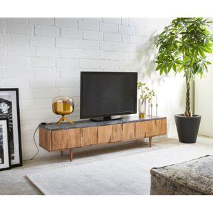 TV-Board Shia 175x35 cm Akazie Natur Stein 3 Fächer - Bild 1