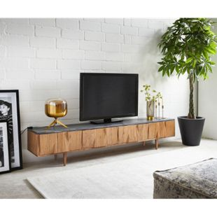 TV-Board Shia Akazie Natur Marmor 200x35x40 cm 4 Türen - Bild 1