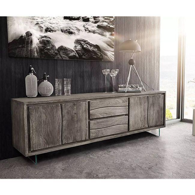 Fernsehtisch Live-Edge Akazie Platin 200 cm 4 Türen 2 Schübe Glasbeine Baumkante Lowboard - Bild 1