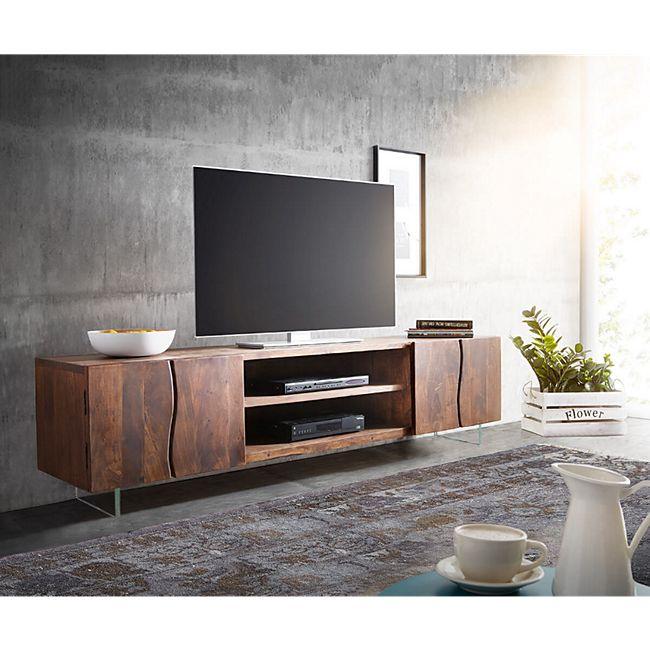 Fernsehtisch Live-Edge Akazie Braun 200 cm 4 Türen 2 Fächer Glasbeine Baumkante Lowboard - Bild 1