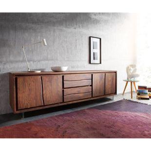 Fernsehtisch Live-Edge Akazie Braun 200 cm 4 Türen 2 Schübe Glasbeine Baumkante Lowboard - Bild 1