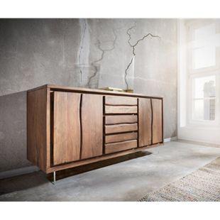 Kommode Live-Edge Akazie Braun 147 cm 2 Türen 3 Schübe Glasbeine Baumkante Sideboard - Bild 1