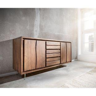 Kommode Live-Edge Akazie Braun 172 cm 4 Türen 3 Schübe Glasbeine Baumkante Sideboard - Bild 1