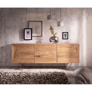Kommode Wyatt Akazie Natur 175 cm 3D Optik oben Edelstahl Design Sideboard - Bild 1