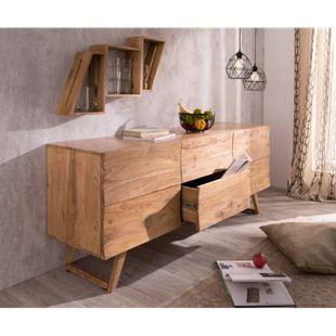 Kommode Wyatt Akazie Natur 177 cm mit 2 Türen 2 Schübe Design Sideboard - Bild 1