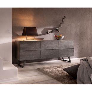 Kommode Wyatt Akazie Platin 177 cm mit 2 Türen 2 Schübe Design Sideboard - Bild 1