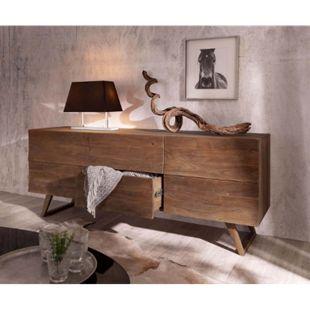Kommode Wyatt Akazie Braun 177 cm mit 2 Türen 2 Schübe Design Sideboard - Bild 1