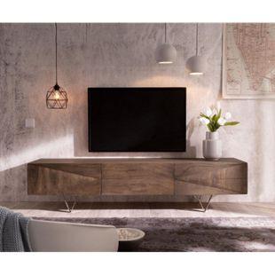 Fernsehtisch Wyatt Akazie Braun 175 cm 2 Türen 1 Klappe Design Lowboard - Bild 1