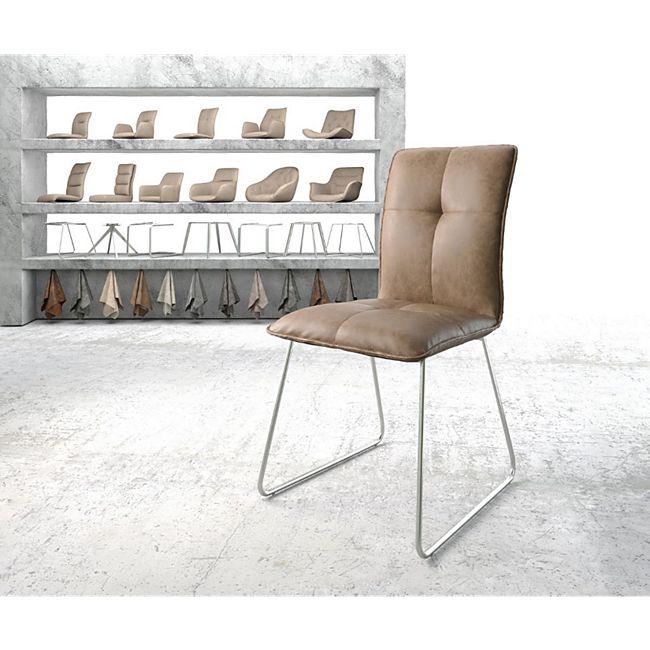 Stuhl Maddy-Flex Kufengestell Edelstahl Kunstleder Braun - Bild 1