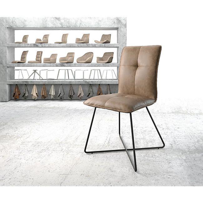 Stuhl Maddy-Flex X-Gestell schwarz Kunstleder Braun - Bild 1