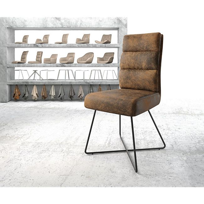 Stuhl Pela-Flex X-Gestell schwarz Vintage Braun - Bild 1