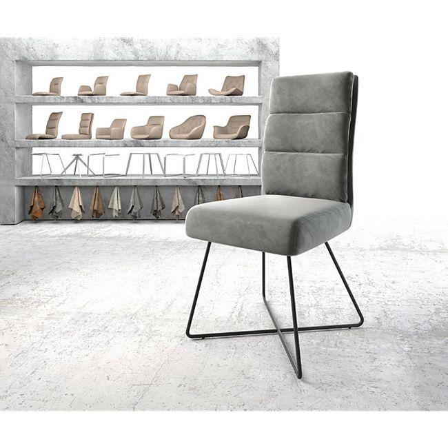 Stuhl Pela-Flex X-Gestell schwarz Samt Grau - Bild 1