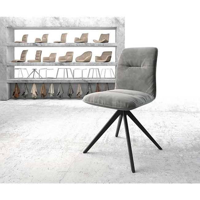 Drehstuhl Vinjo-Flex Kreuzgestell kantig schwarz Samt Grau - Bild 1