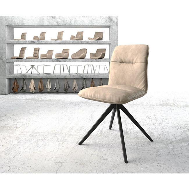 Drehstuhl Vinjo-Flex Kreuzgestell kantig schwarz Vintage Beige - Bild 1