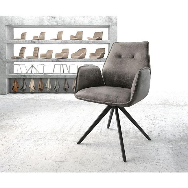 Drehstuhl Zoa-Flex Kreuzgestell kantig schwarz Vintage Grau - Bild 1