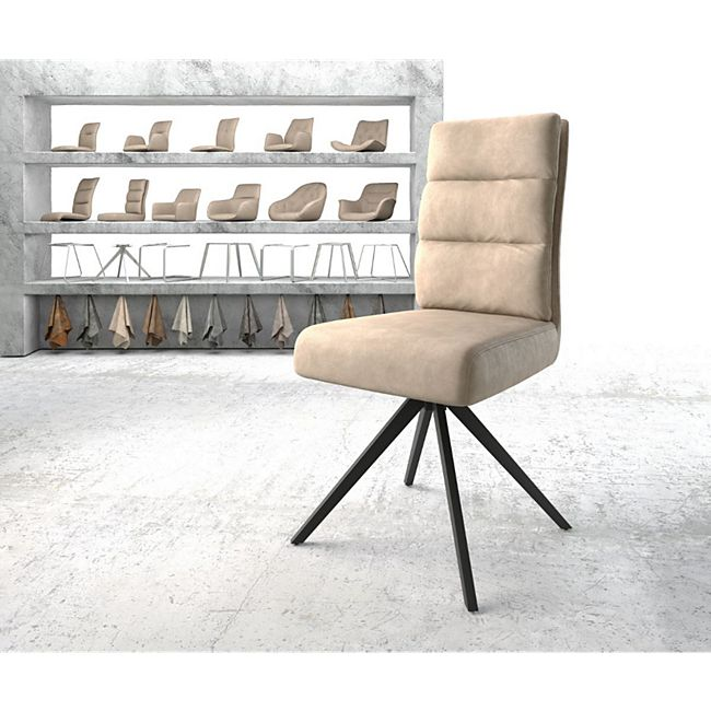 Drehstuhl Pela-Flex Kreuzgestell kantig schwarz Vintage Beige - Bild 1