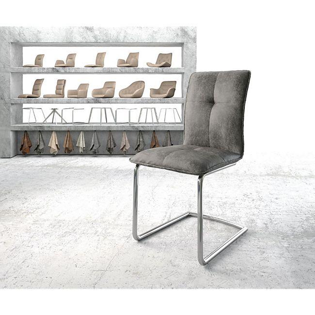 Stuhl Maddy-Flex Freischwinger rund verchromt Vintage Grau - Bild 1