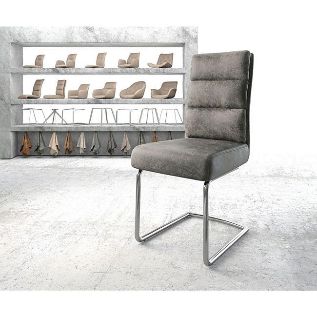 Stuhl Pela-Flex Freischwinger rund verchromt Vintage Grau - Bild 1