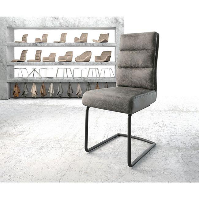 Stuhl Pela-Flex Freischwinger rund schwarz Vintage Grau - Bild 1
