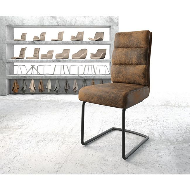 Stuhl Pela-Flex Freischwinger rund schwarz Vintage Braun - Bild 1