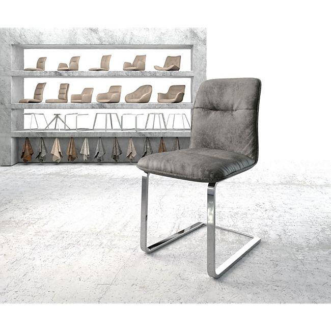 Stuhl Vinjo-Flex Flachgestell verchromt Vintage Grau - Bild 1