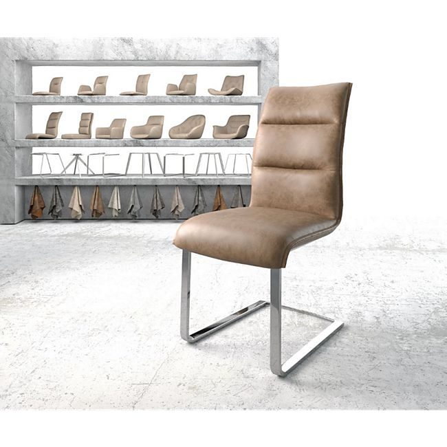 Stuhl Xantus-Flex Flachgestell verchromt Kunstleder Braun - Bild 1