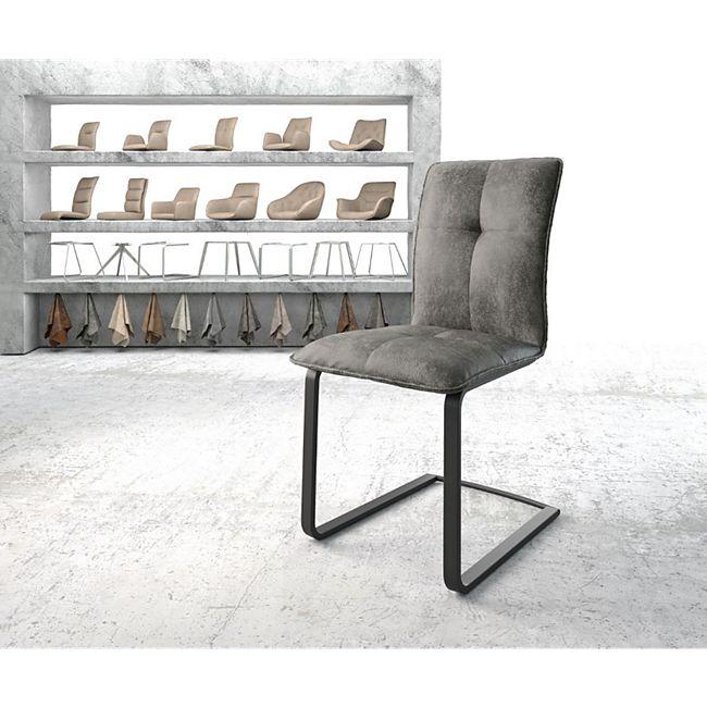 Stuhl Maddy-Flex Freischwinger flach schwarz Vintage Grau - Bild 1