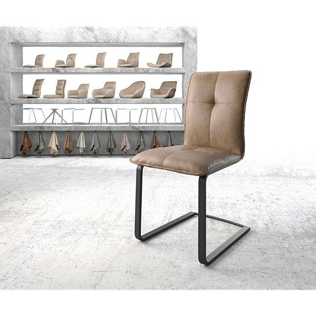 Stuhl Maddy-Flex Freischwinger flach schwarz Kunstleder Braun - Bild 1