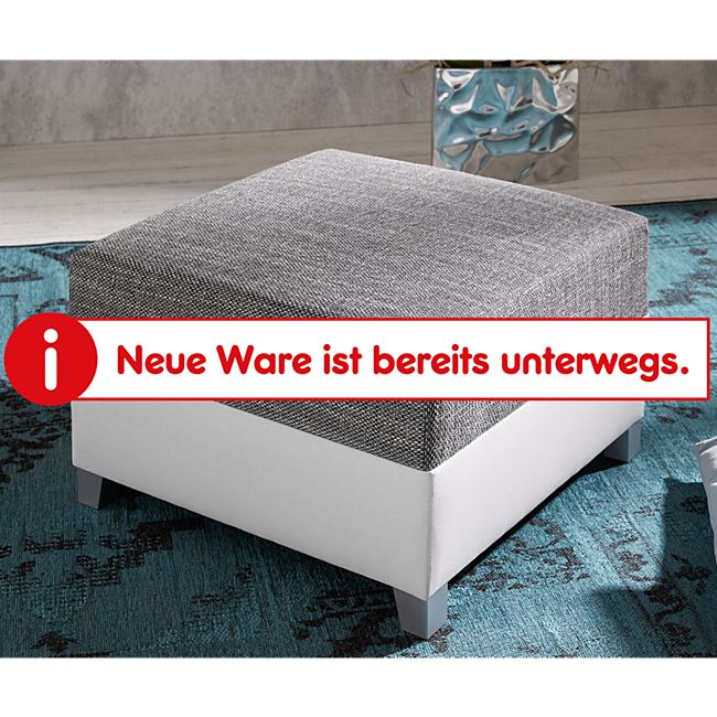 Sofa-Hocker Panama Hellgrau Weiss Modul B72 x T72 Strukturstoff Sitzhocker - Bild 1