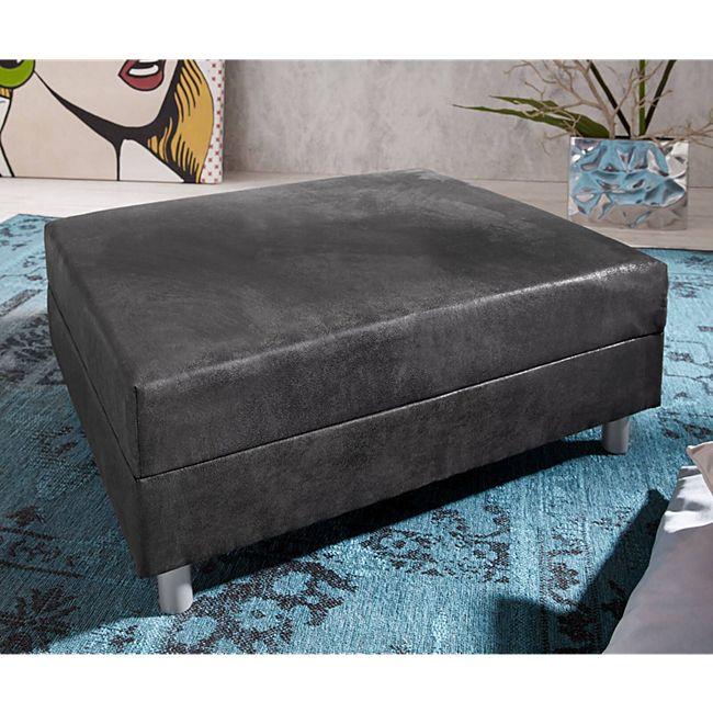 Sofa-Hocker Clovis Anthrazit Modul B98 x T83 Microvelours Sitzhocker - Bild 1
